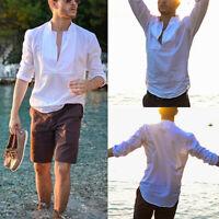 Mens V-Neck Long Sleeve Linen Tops Causal Loose Beach T Shirt Tops Blouse Tee