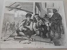 Gravure 1868 - Bachi Bouzoucks au Café