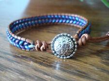 Purple Blue Herringbone Handmade Beaded Leather Wrap Bracelet