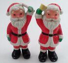 "1950s Japan 5"" Santa Claus St Nick Bell Ringer Candy Cane Salt & Pepper Shakers"