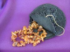 Vintage Natural Baltic Amber Nuggets Ladies Necklace w/Beaded Mini Purse