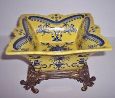 Yellow & Blue Asian Chinese Pottery Bowl with Ornate Brass Base - 7 3/4""