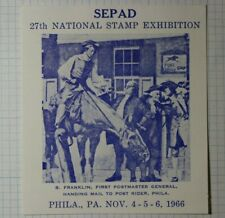 Sepad Natl Stamp Expo Phila Pa B. Franklin First Postmaster Philatelic Souvenir
