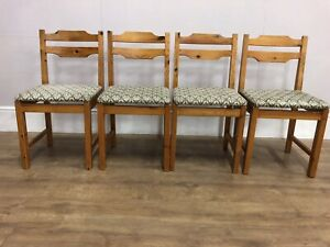 Set Of 4 Pine Kitchen Dining  Chairs Solid Pieces