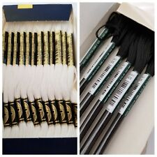 DMC Embroidery Floss Thread, 8 meters ea. - 12 Cotton white, 48 Rayon black (60)