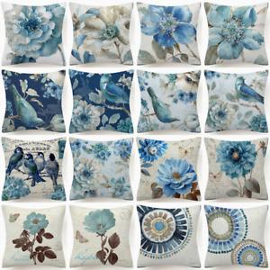 "18x18"" PILLOW COVER Floral Blue White Indigo Plant Birds Flower Bed Cushion Case"