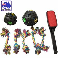 2x Dog Treat Dispenser Ball + 5x Chew Rope Toy + 1x Lint Remover Brush PTOY02