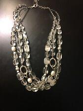 Vintage Silpada Retired Rock Crystal Quartz Freshwater Pearl Silver Necklace