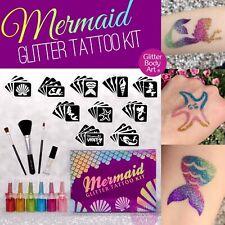 Mermaid Glitter Tattoo Kit - Inc 40 Stencils - Mermaid Stencil, Body Tattoos