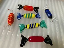 6 Vintage Italian Murano Art Glass Lolly Formed Sculptures