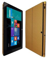 Skinomi Carbon Fiber Gold Skin+Clear Screen Protect for Microsoft Surface Pro 2