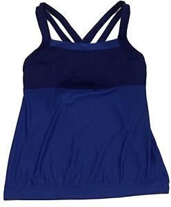 Athleta Women's Blue Miles Mesh Crossback Athletic Yoga Top Size Medium