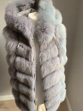 Hooded Light Grey Real Fox Fur Gilet Vest Waistcoat size UK 10/12 RRP £895