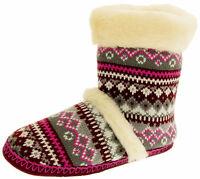 Ladies DUNLOP Faux Fur Lined Fairisle Warm Winter Boot Slippers Sz Size 3 4 5 6