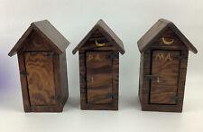 "3-Vintage HandMade Wooden Outhouse Folk Art Set Comical Inside. See Photos! 8.5"""