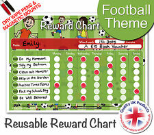 Reusable Boys Football Reward Chart for Kids - 2 Dry Wipe Pens & Magnetic Mounts