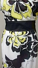 Size 16 STEILMANN Light Summer Cotton Party Holiday Yellow Black White Dress