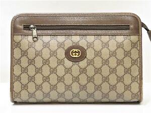 Auth old GUCCI Men Clutch Bag Handbag Business Pouch Organizer PVC GG 18626304