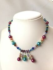 Vintage multicolour faux pearl glass crystal beads statement necklace rockabilly