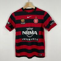 Western Sydney Wanders Jersey Shirt Youth Large Red Black Striped Short Sleeve