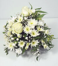FRESH FUNERAL FLOWER Delivered White Posy Spray FREE Next Day Delivery UK Wide