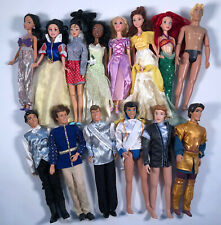 Disney Princess + Prince Barbie DOLL LOT of 14 Snow White Ariel Belle Eric Flynn