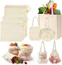 GMFINE Organic Cotton Mesh Reusable Produce Bags (9 Pack 6 Sizes)