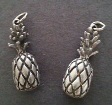 2 - Pineapple Charms Earrings Zipper Pull - Silver - 3 Dimensional - Fruit - NEW
