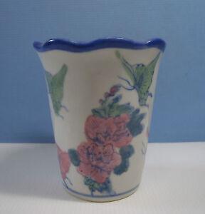 Vintage Jingdezhen porcelain flower bonsia pot 'butterflies & flowers' 1980s ww