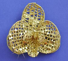 "3"" Gold Sparkle Glitter Orchid Hair Clip Holiday Special Occasion Christmas"