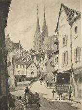 LEOPOLD ROBIN (1877-1939) France Signed French Etching---Chartres Rue du Bourg