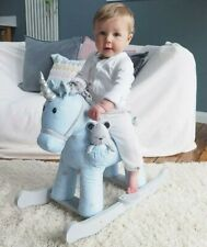 Moonbeam and Rae Wooden Unicorn Rocking Horse Plush Baby Gift Toddler Ride On