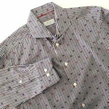 Eton of Sweden Luxury Shirt Slim Fit Blue Brown White Stripe Size 41 16