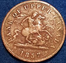 1857 Bank Of Upper Canada Penny Token  ID #A10-35
