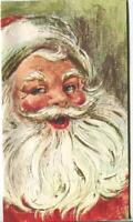 VINTAGE CHRISTMAS JOLLY SMILING SANTA CLAUS RED WHITE CHARTRUESE GREETING CARD