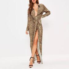 Women Leopard Print Wrap Front Maxi Dress High Slit Evening Party Club Ball Gown