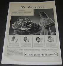 Magazine Ad 1942 Mimeograph Duplicator WW ll She also serves Schoolteacher