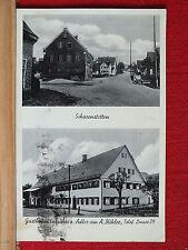 2-Bild-Fotokarte - Scharenstetten - Gasthof + Brauerei zum Adler - Oldtimer   m1