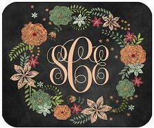 MOUSE PAD CUSTOM PERSONALIZED THICK MOUSEPAD- CHALKBOARD LOOK WREATH W/MONOGRAM