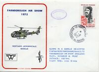 1972 France Helicopter Mail Flight Cover Marignane to Farnborough Airshow