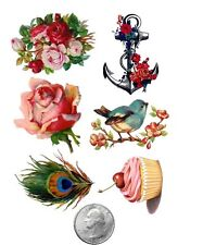 Ship from NY - Temporary Tattoo - Set of 6 Anchor,Flower,Bird,Feather,Cupcake