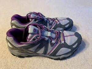 Merrell Grassbow Sport ladies trail running trainers in grey/purple - size 5