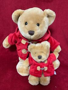 """Keel Toys Simply Soft Mama and Baby bears in red duffle coats 14"""""""