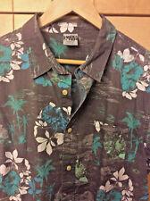 Hang Ten Men's Hawaiian Gray Floral 100% Cotton Camp Shirt L