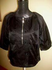 ELLE BLACK TIE Button-Zipper 3/4 Sleeve Jacket-Pockets-NEW Lg-$50-Cotton Blend