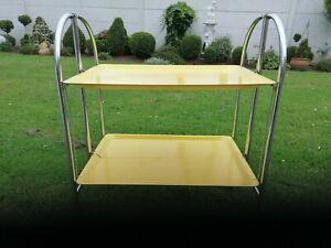 Dinett Servierwagen-Barwagen Teewagen 70er gelb Rollwagen