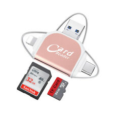 4 in1 Usb/Micro Usb(OTG) Type C SD TF Card Reader for iPhone Android PC Mac Pink
