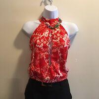 Women Sleeveless Mock Neck top Red Casual Shirt Blouse Summer Club Wear Urban