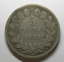 1833 B FRANCE 5 FRANCS LOUIS PHILIPPE 0.9 SILVER COIN