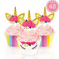 48pcs Rainbow Unicorn Cupcake Toppers & Wrappers Kids Birthday Party Cake Decor